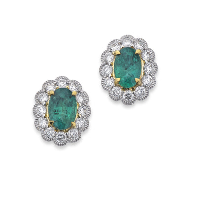 18ct Emerald & Diamond Cluster Earrings-Hamilton & Inches