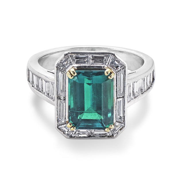 Emerald and Diamond Ring with Baguette-Cut Diamond Shoulders in Platinum-Hamilton & Inches