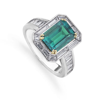 Emerald and Diamond Ring with Baguette-Cut Diamond Shoulders in Platinum - Hamilton & Inches
