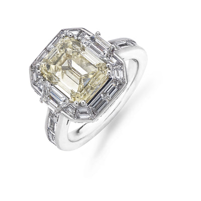 Emerald-Cut Yellow Diamond Engagement Ring with Baguette-Cut Diamond Shoulders in Platinum - Hamilton & Inches