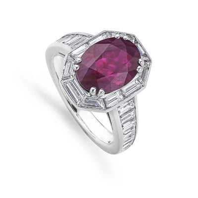 Cluster Ring with One Oval Cut Ruby in Platinum - Hamilton & Inches