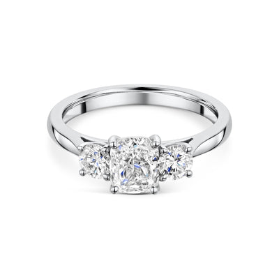 Cushion and Round Brilliant Cut Three Stone Diamond Engagement Ring in Platinum-Hamilton & Inches