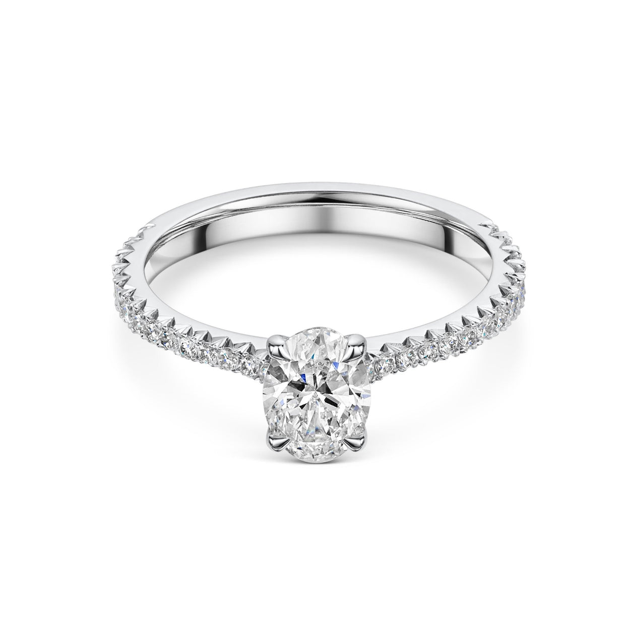 Oval Cut Solitaire Engagement Ring with Diamond Shoulders-Hamilton & Inches