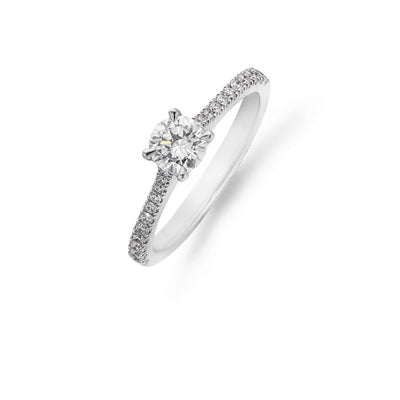 Diamond Solitaire Engagement Ring with Diamond Claw-Set Shoulders in Platinum-Hamilton & Inches