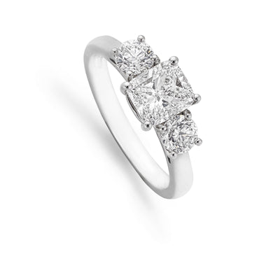 Cushion-Cut Diamond Three Stone Engagement Ring-Hamilton & Inches