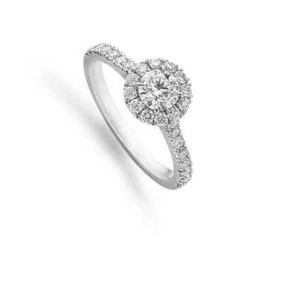 Brilliant-Cut Diamond Halo Cluster Engagement Ring with Diamond Shoulders-Hamilton & Inches