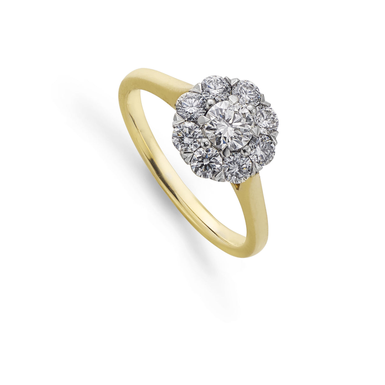 Nine Diamond Cluster Ring in 18ct Yellow Gold - Hamilton & Inches