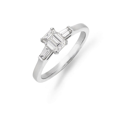 Emerald-Cut Diamond with Baguette Side Stones in Platinum - Hamilton & Inches