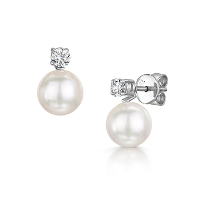Akoya Cultured Pearl and Diamond Earrings-Hamilton & Inches