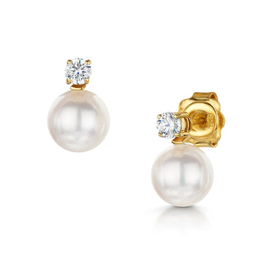 Diamond and Akoya Cultured Pearl Earrings in 18ct Yellow Gold - Hamilton & Inches