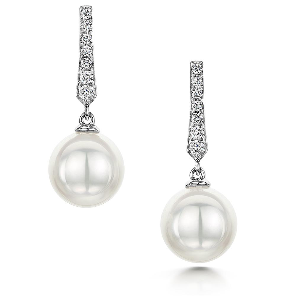 Cultured Pearl & Diamond Drop Earrings in 18ct White Gold - Hamilton & Inches