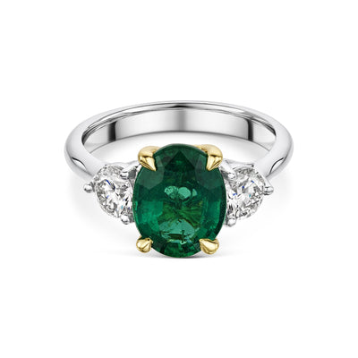 Three Stone Emerald and Diamond Ring in Platinum