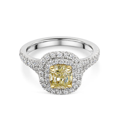 Cushion-Cut Yellow Diamond Cluster Ring in Platinum-Hamilton & Inches