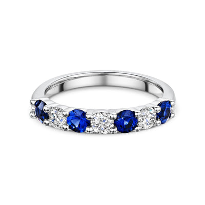 Diamond and Sapphire Eternity Ring in 18ct White Gold-Hamilton & Inches