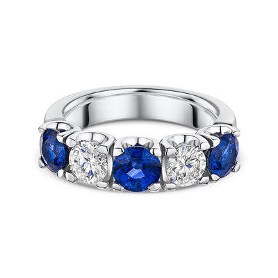 Sapphire and Diamond 1/2 Eternity Ring in Platinum-Hamilton & Inches