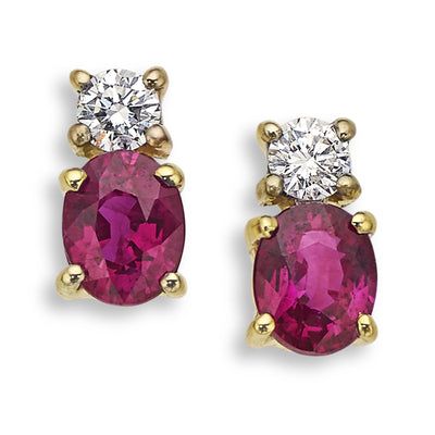 Ruby & Diamond Earrings in Yellow Gold-Hamilton & Inches