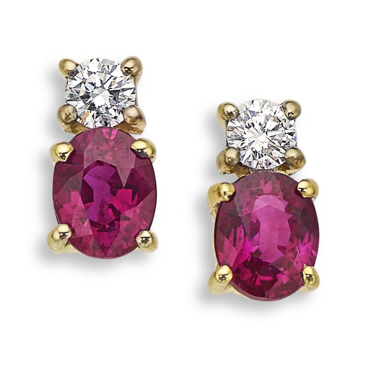 Ruby & Diamond Earrings in Yellow Gold - Hamilton & Inches