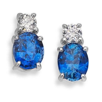 18ct White Gold Oval Sapphire & Diamond Earrings - Hamilton & Inches