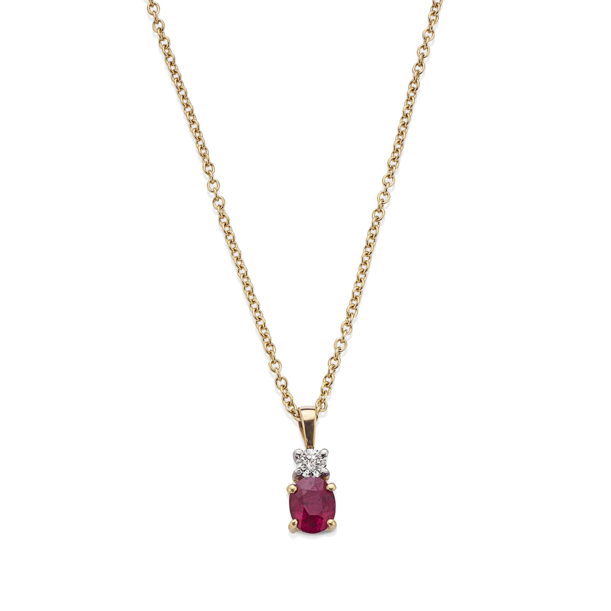 18ct Yellow Gold Ruby & Diamond Pendant with Chain - Hamilton & Inches