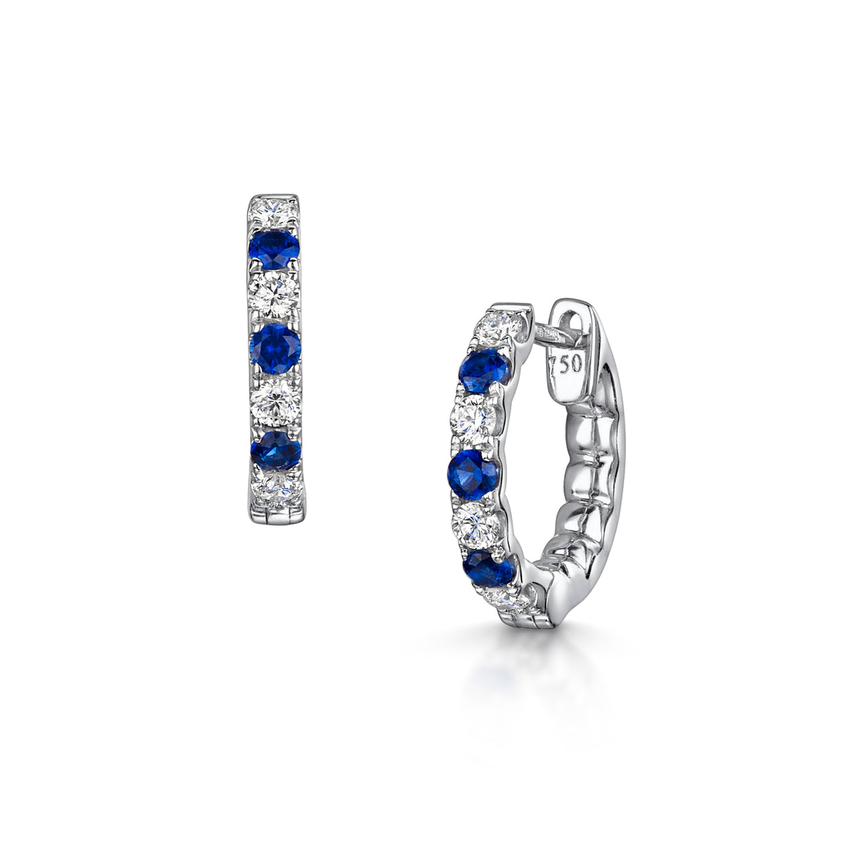 Diamond and Sapphire Earrings in 18ct White Gold-Hamilton & Inches