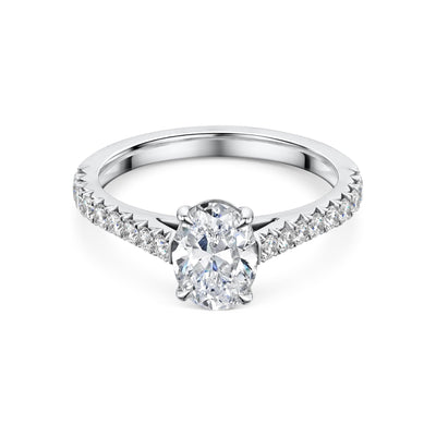 Diamond Solitaire Engagement Ring with Diamond Set Shoulders in Platinum-Hamilton & Inches