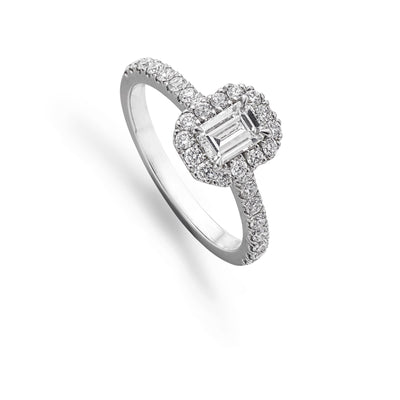 Emerald-Cut Diamond Cluster Ring in Platinum
