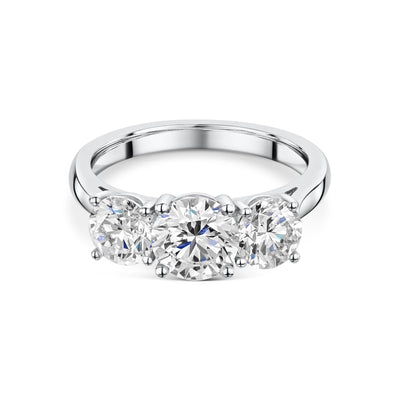 Three Stone round brilliant cut Diamond Engagement Ring in Platinum-Hamilton & Inches
