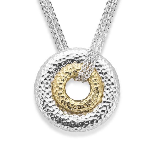 HAMILTON & INCHES DOUBLE DONUT PENDANT in 18CT YELLOW GOLD & SILVER
