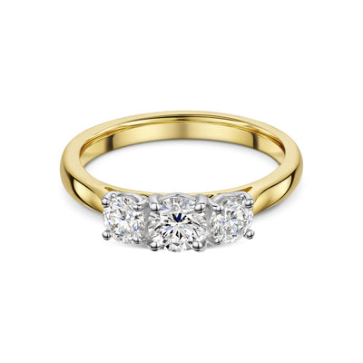 Three Stone Diamond Engagement Ring in 18ct Yellow Gold-Hamilton & Inches