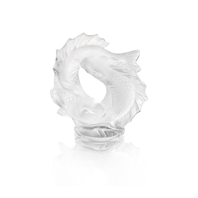 Lalique Double Fish Sculpture in Clear Crystal