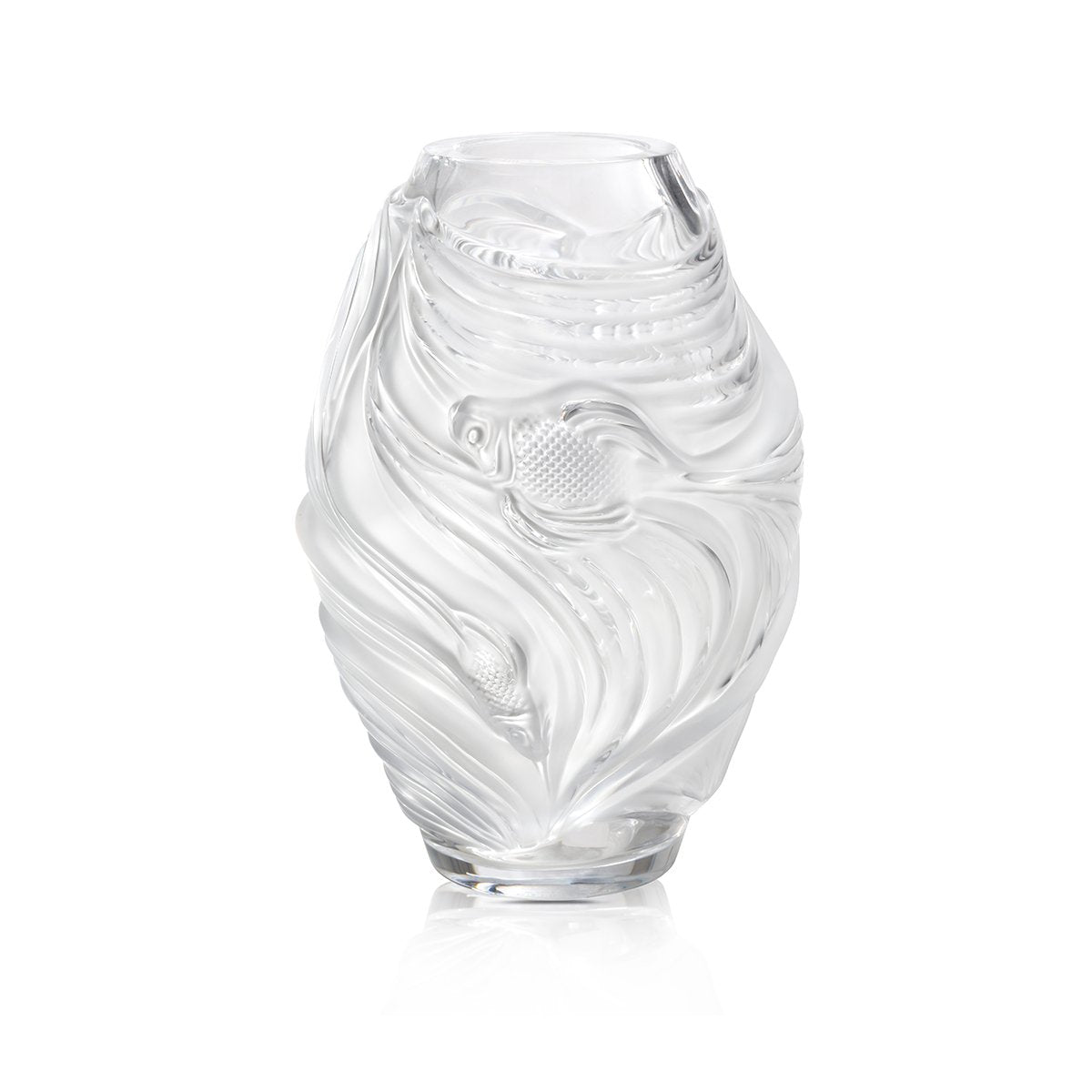 LALIQUE LARGE POISSON COMBATTANTS Vase-Hamilton & Inches