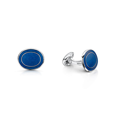 Blue Oval Cufflinks in Sterling Silver - Hamilton & Inches