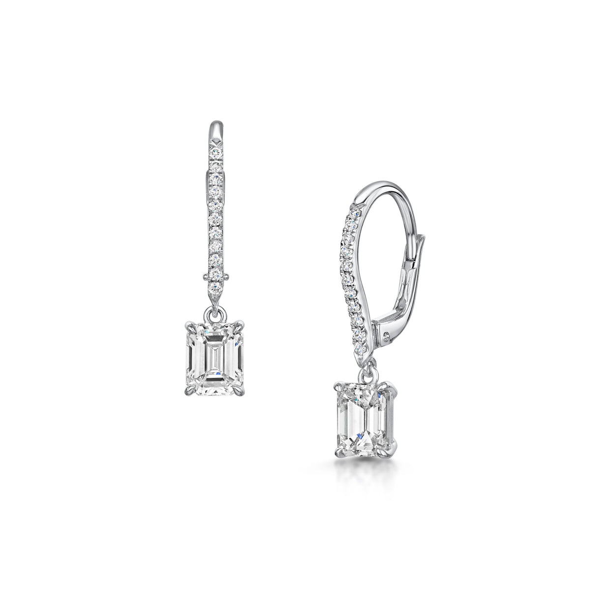 Emerald-Cut Diamond Drop Earrings in 18ct White Gold-Hamilton & Inches
