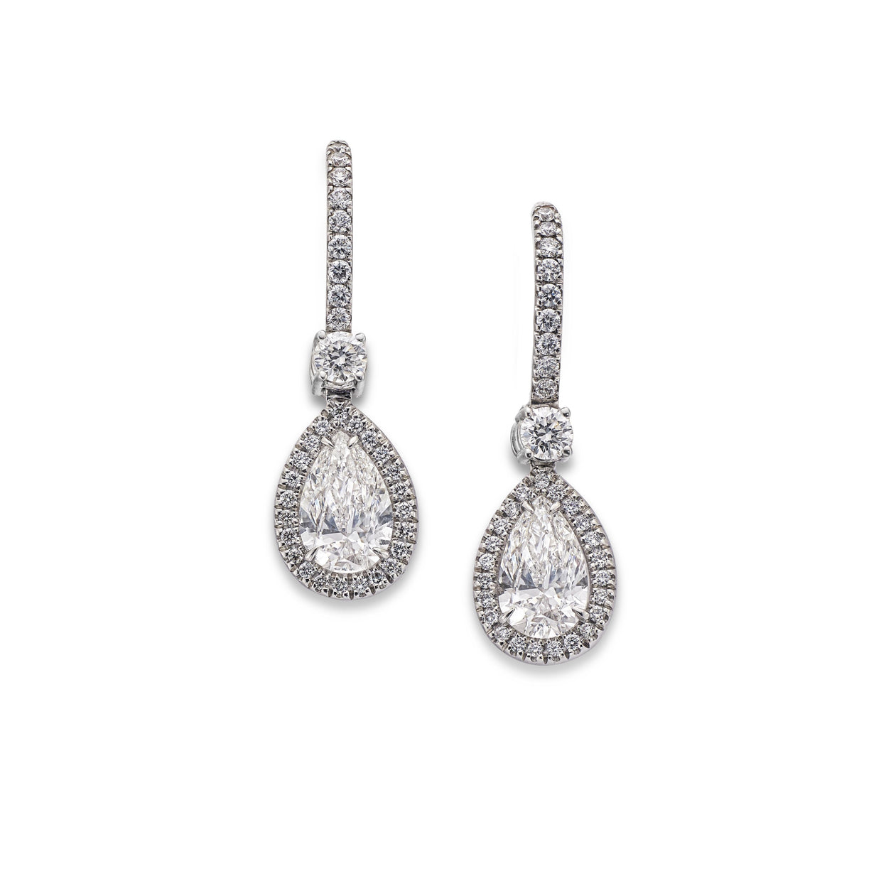 Pear-Cut Cluster Diamond Drop Earrings in 18ct White Gold - Hamilton & Inches
