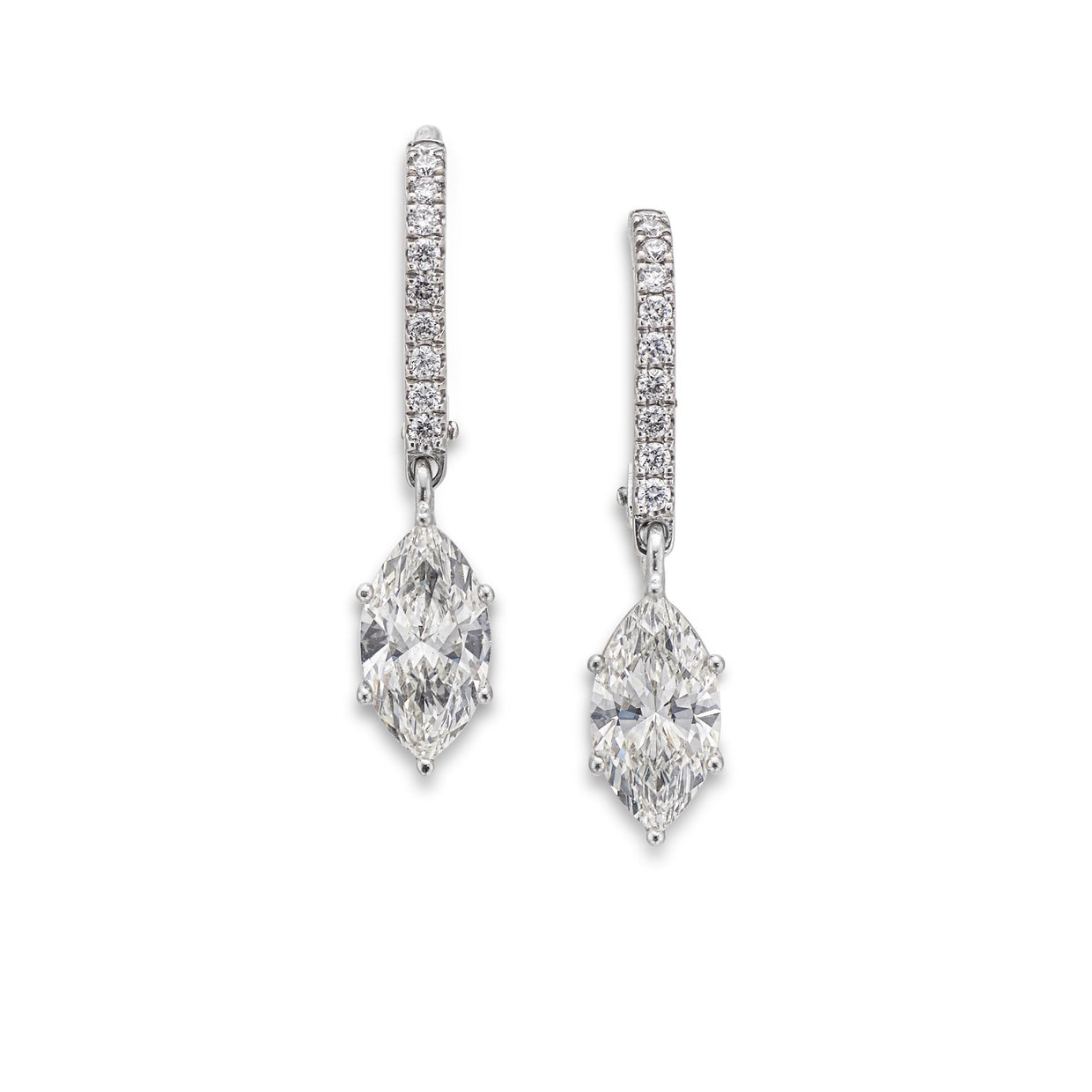 Marquise-Cut Diamond Drop Earrings in 18ct White Gold - Hamilton & Inches