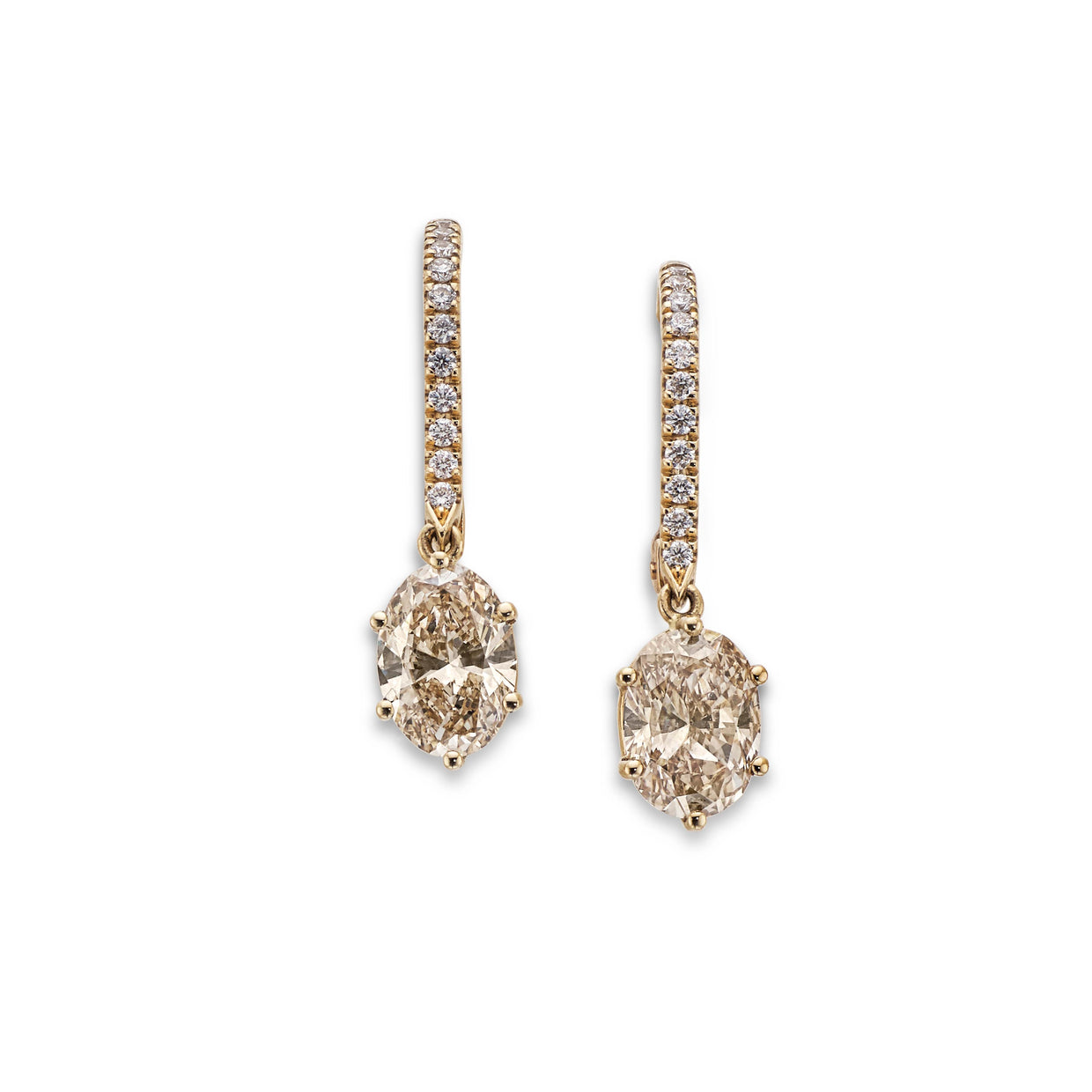 Oval Cut Diamond Drop Earrings in 18ct Rose Gold-Hamilton & Inches
