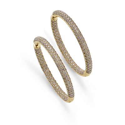 Diamond Hoop Earrings in 18ct Rose Gold - Hamilton & Inches