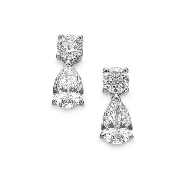 Pear-Shaped Diamond Drop Earrings in 18ct White Gold - Hamilton & Inches