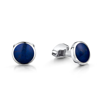 Lapis Round Cufflinks in Sterling Silver-Hamilton & Inches