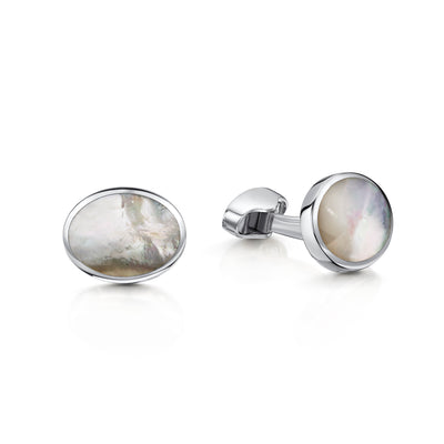 Mother of Pearl Oval Cufflinks in Sterling Silver-Hamilton & Inches