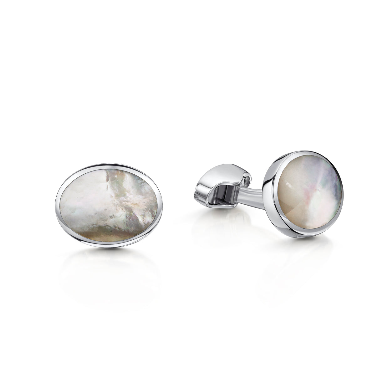 Mother of Pearl Oval Cufflinks in Sterling Silver-H & I-Hamilton & Inches