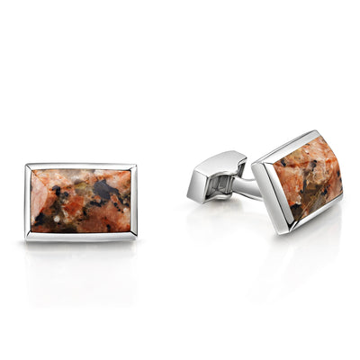 Peterhead Granite Cufflinks in Sterling Silver-Hamilton & Inches