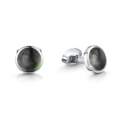 Round Blacklip Pearl Cufflinks in Sterling Silver-Hamilton & Inches
