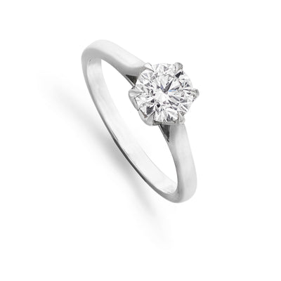 Diamond Solitaire Engagement Ring in Platinum Lotus Setting