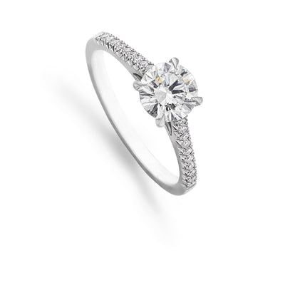 Diamond Solitaire Engagement Ring with French-Cut Diamond Shoulders - Hamilton & Inches