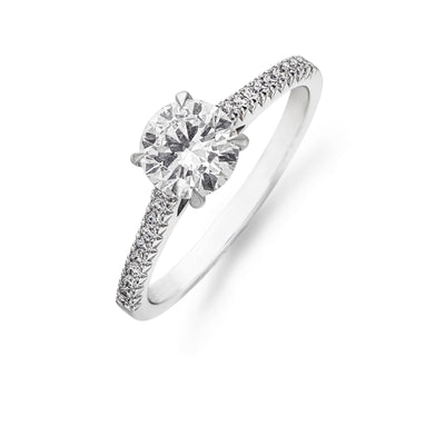 Brilliant-Cut Diamond Solitaire with French-Cut Diamond Shoulders