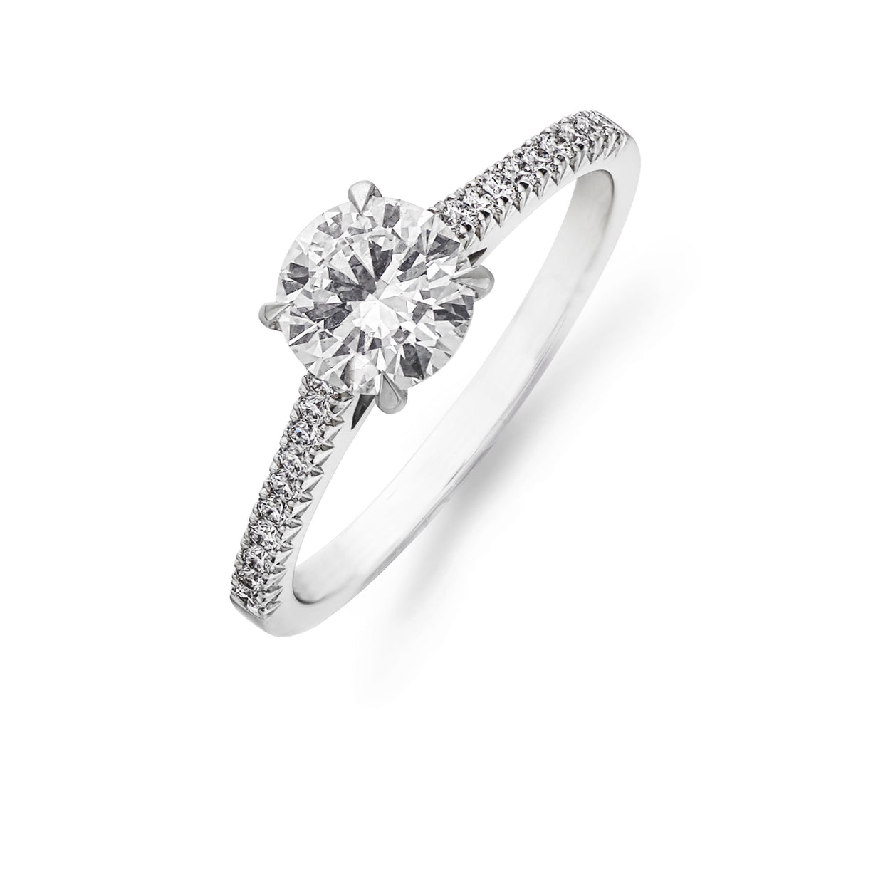 Brilliant-Cut Diamond Solitaire with French-Cut Diamond Shoulders-Hamilton & Inches