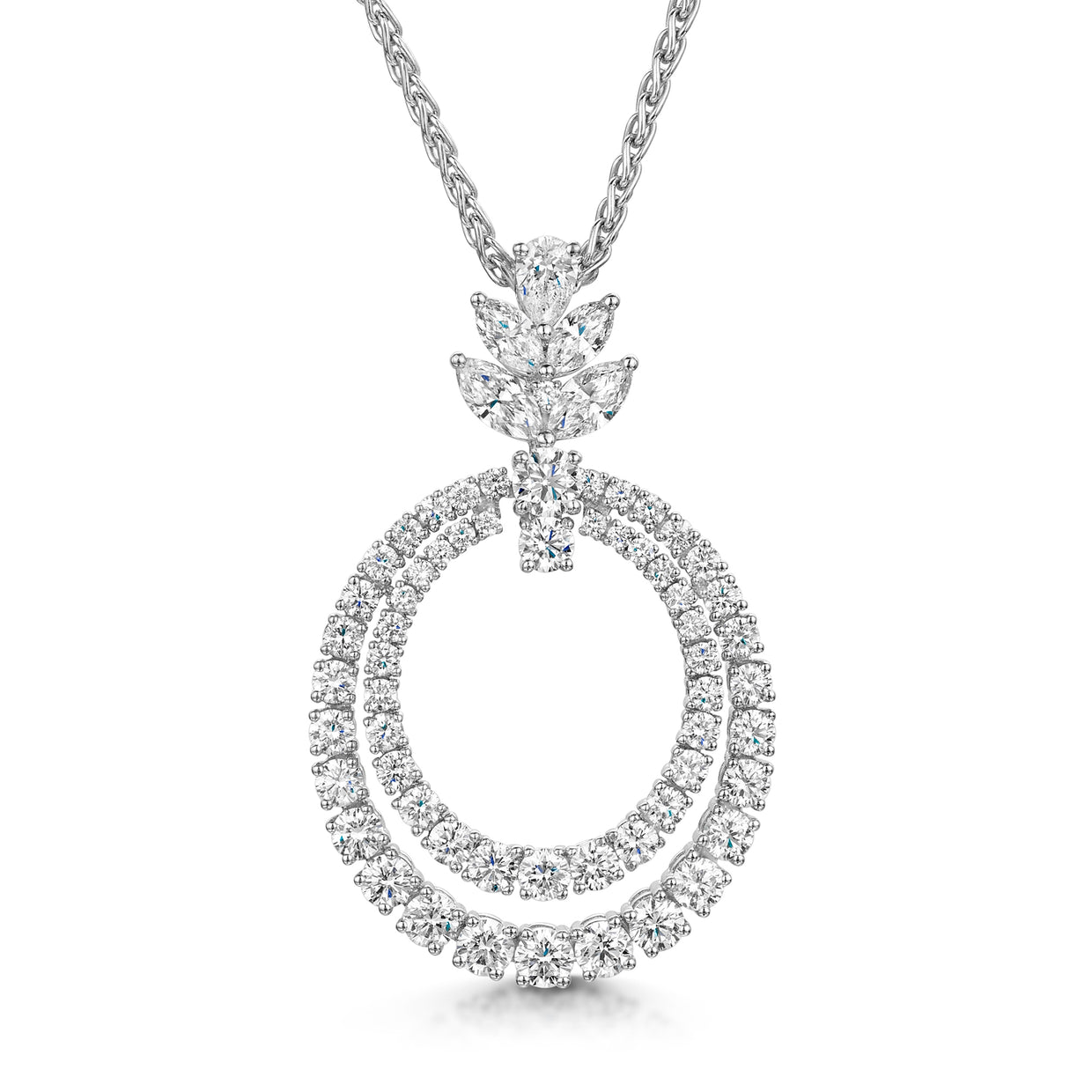 Double Hoop Diamond Pendant in 18ct White Gold-Hamilton & Inches