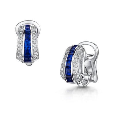 Round Brilliant-Cut Diamond and Sapphire Earrings in 18ct White Gold-Hamilton & Inches