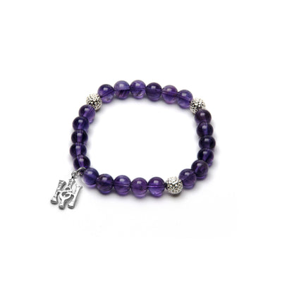 Amethyst & Hammered Silver Bead Bracelet - Small-Hamilton & Inches